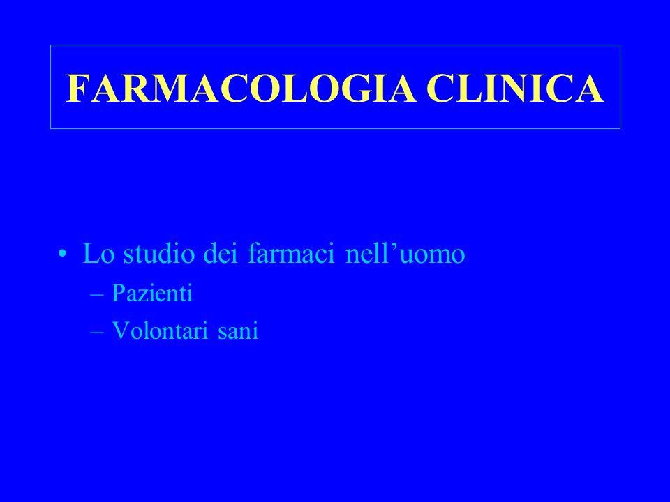 FARMACOLOGIA CLINICA Lo studio dei farmaci nell'uomo Pazienti