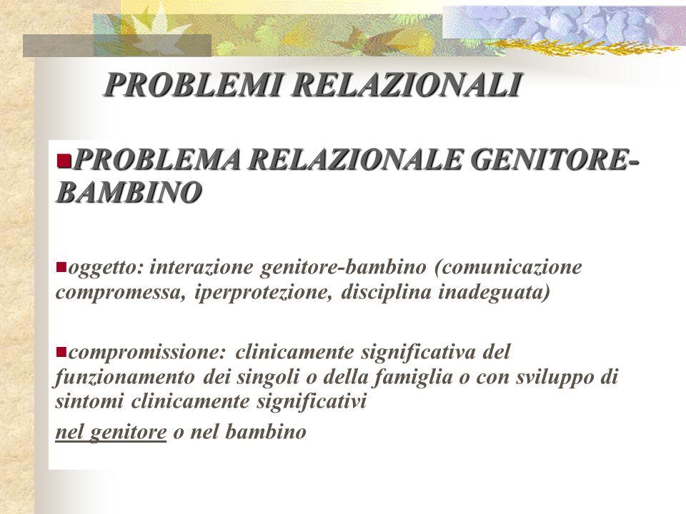 PROBLEMI RELAZIONALI PROBLEMA RELAZIONALE GENITORE-BAMBINO