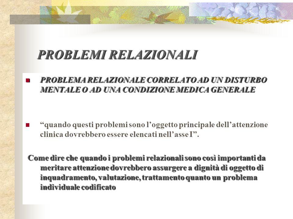 PROBLEMI RELAZIONALI PROBLEMA RELAZIONALE CORRELATO AD UN DISTURBO MENTALE O AD UNA CONDIZIONE MEDICA GENERALE.