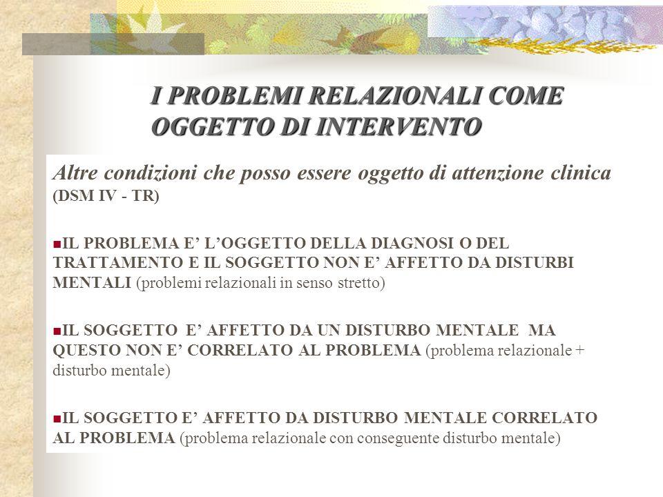 I PROBLEMI RELAZIONALI COME OGGETTO DI INTERVENTO
