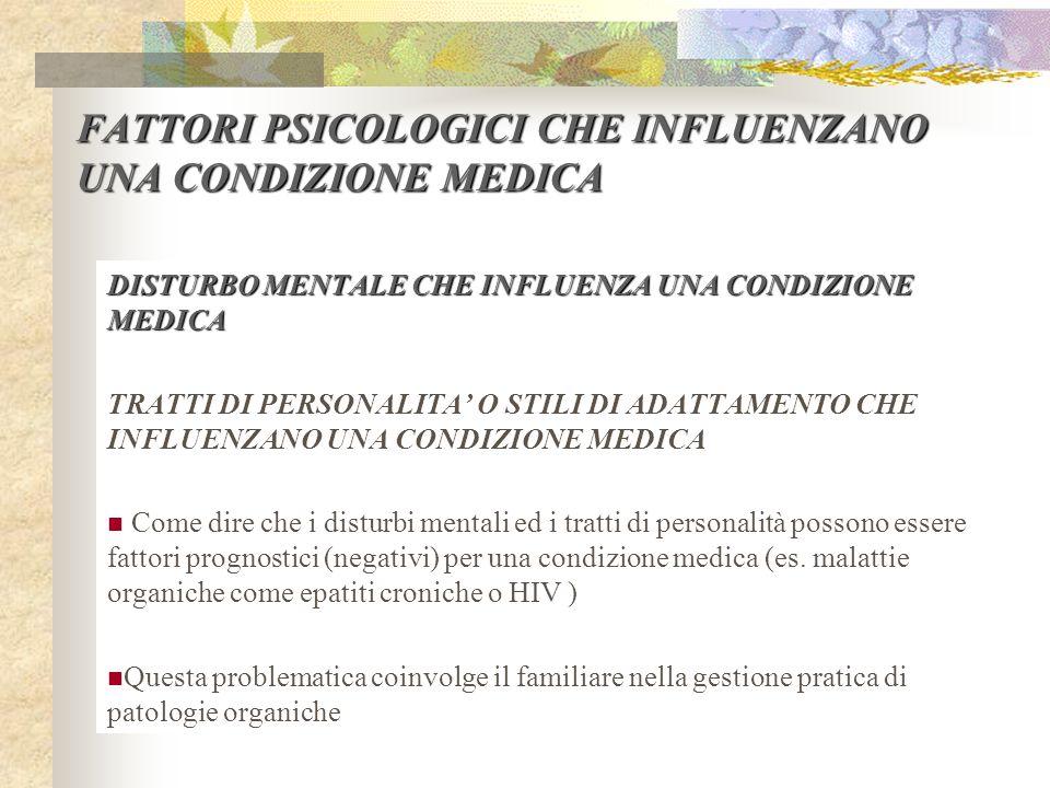 FATTORI PSICOLOGICI CHE INFLUENZANO UNA CONDIZIONE MEDICA