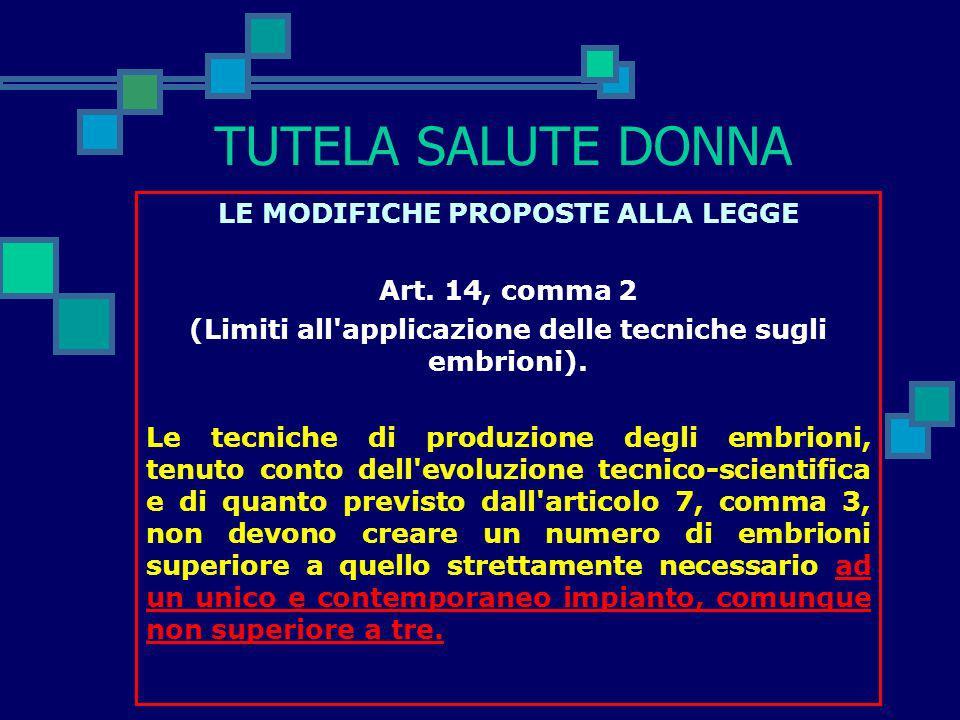 TUTELA SALUTE DONNA LE MODIFICHE PROPOSTE ALLA LEGGE Art. 14, comma 2