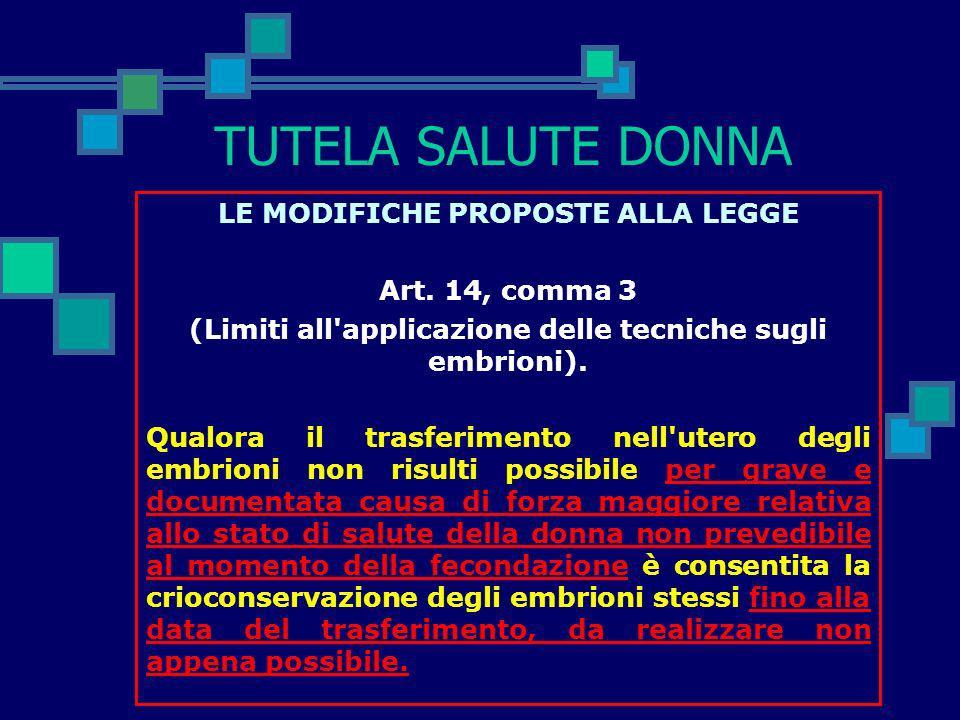 TUTELA SALUTE DONNA LE MODIFICHE PROPOSTE ALLA LEGGE Art. 14, comma 3