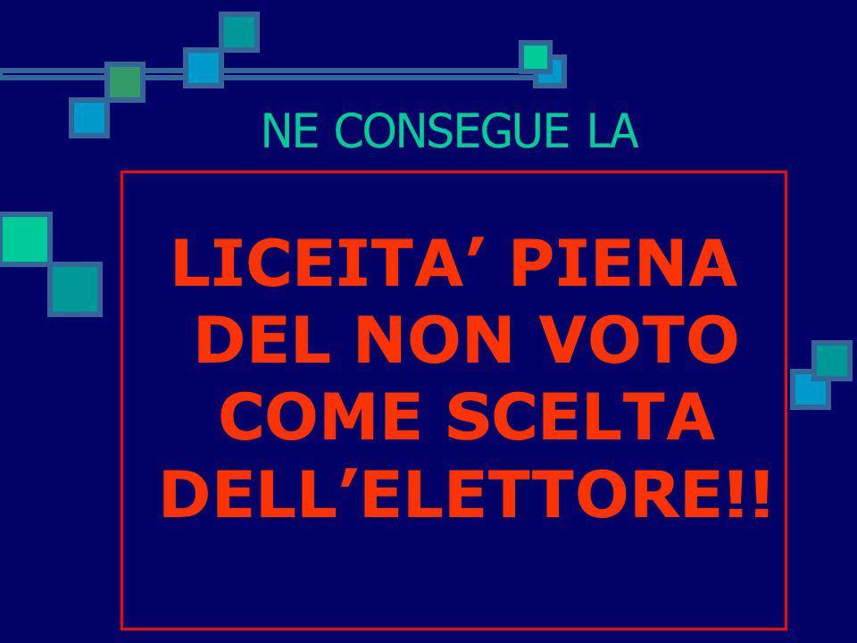 LICEITA' PIENA DEL NON VOTO COME SCELTA DELL'ELETTORE!!
