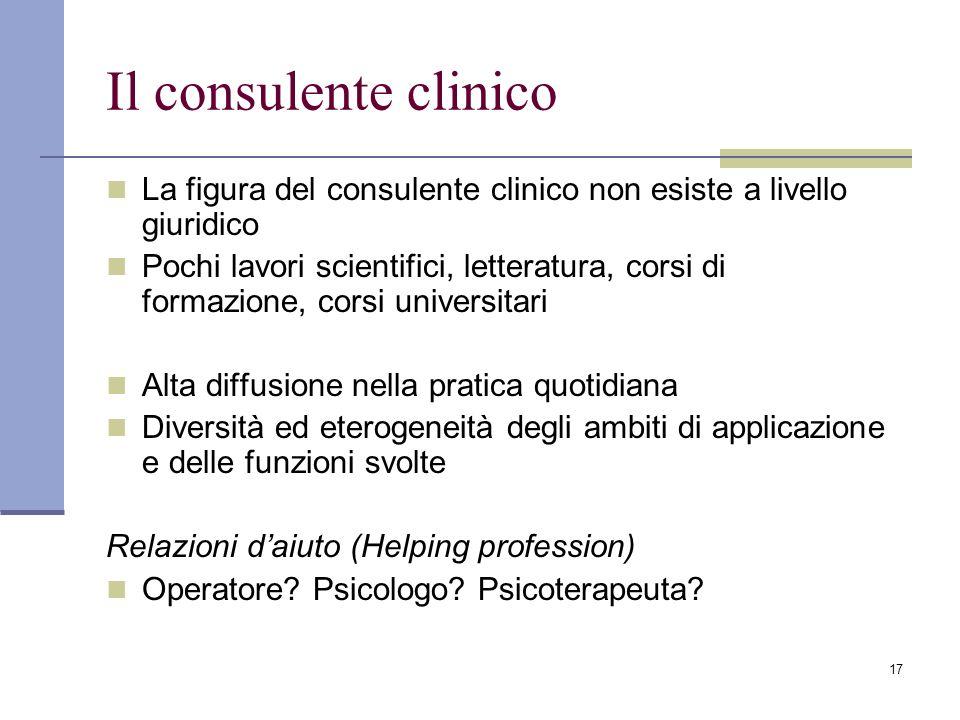 Il consulente clinico La figura del consulente clinico non esiste a livello giuridico.