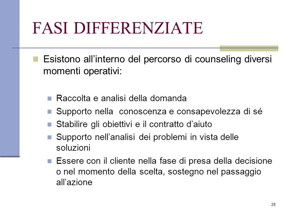 FASI DIFFERENZIATE Esistono all'interno del percorso di counseling diversi momenti operativi: Raccolta e analisi della domanda.