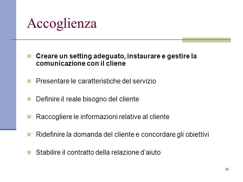 Accoglienza Creare un setting adeguato, instaurare e gestire la comunicazione con il cliene. Presentare le caratteristiche del servizio.