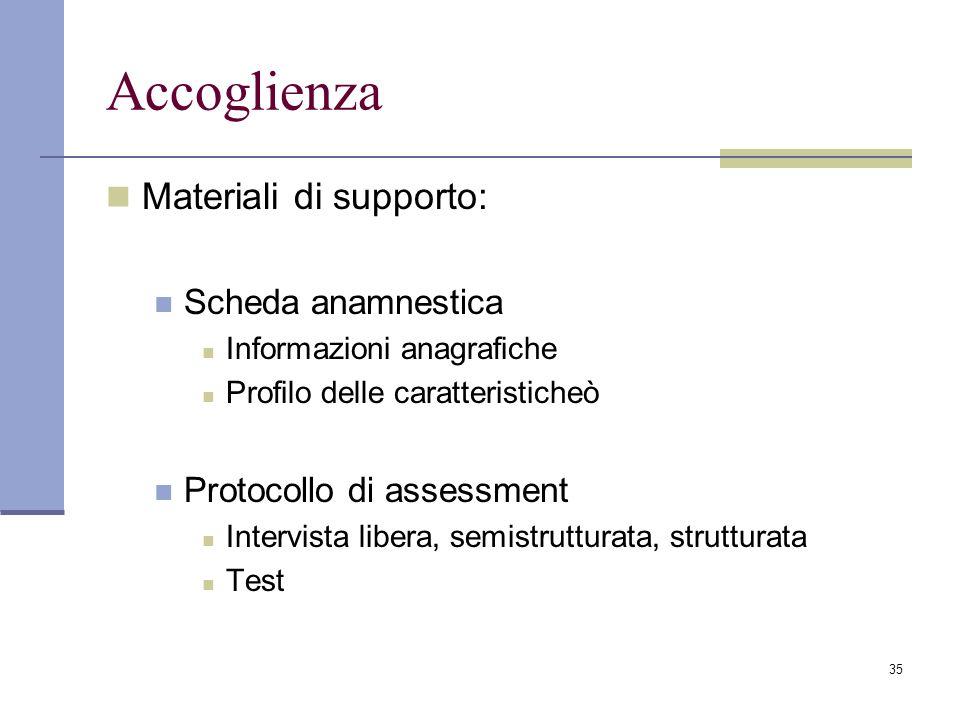 Accoglienza Materiali di supporto: Scheda anamnestica