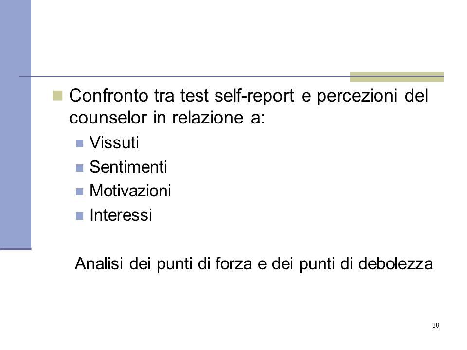 Confronto tra test self-report e percezioni del counselor in relazione a: