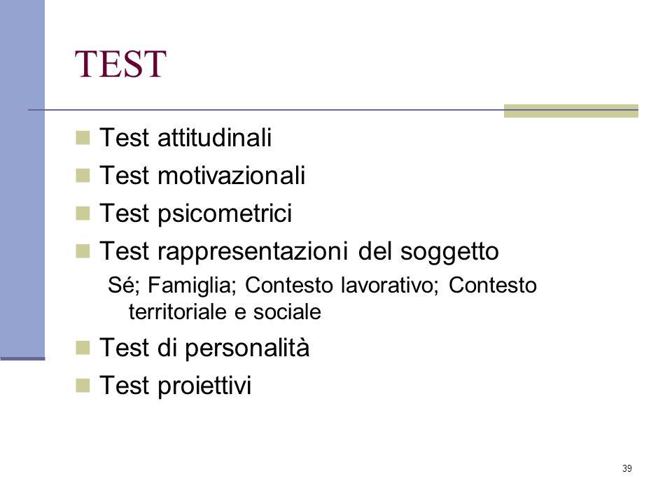 TEST Test attitudinali Test motivazionali Test psicometrici