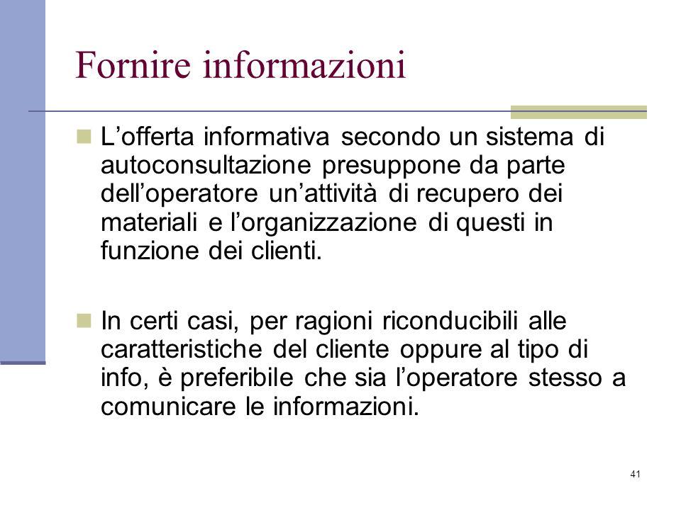Fornire informazioni