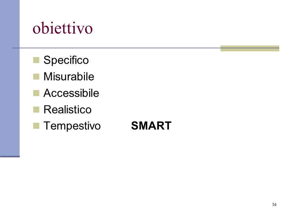 obiettivo Specifico Misurabile Accessibile Realistico Tempestivo SMART