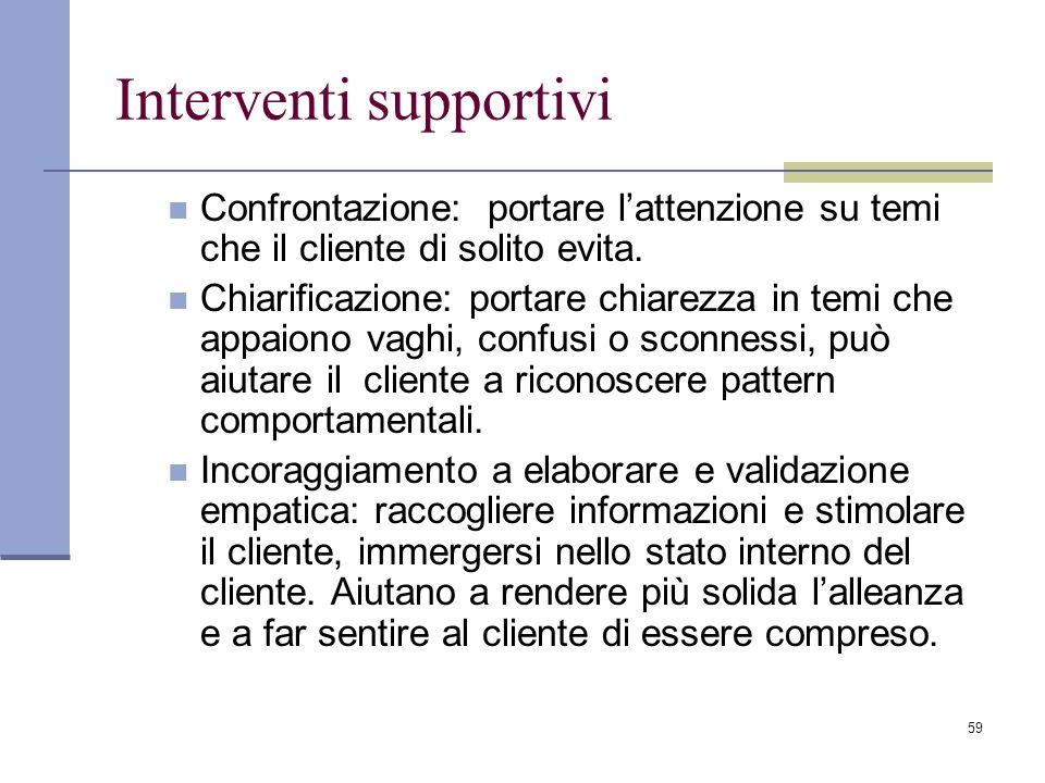 Interventi supportivi