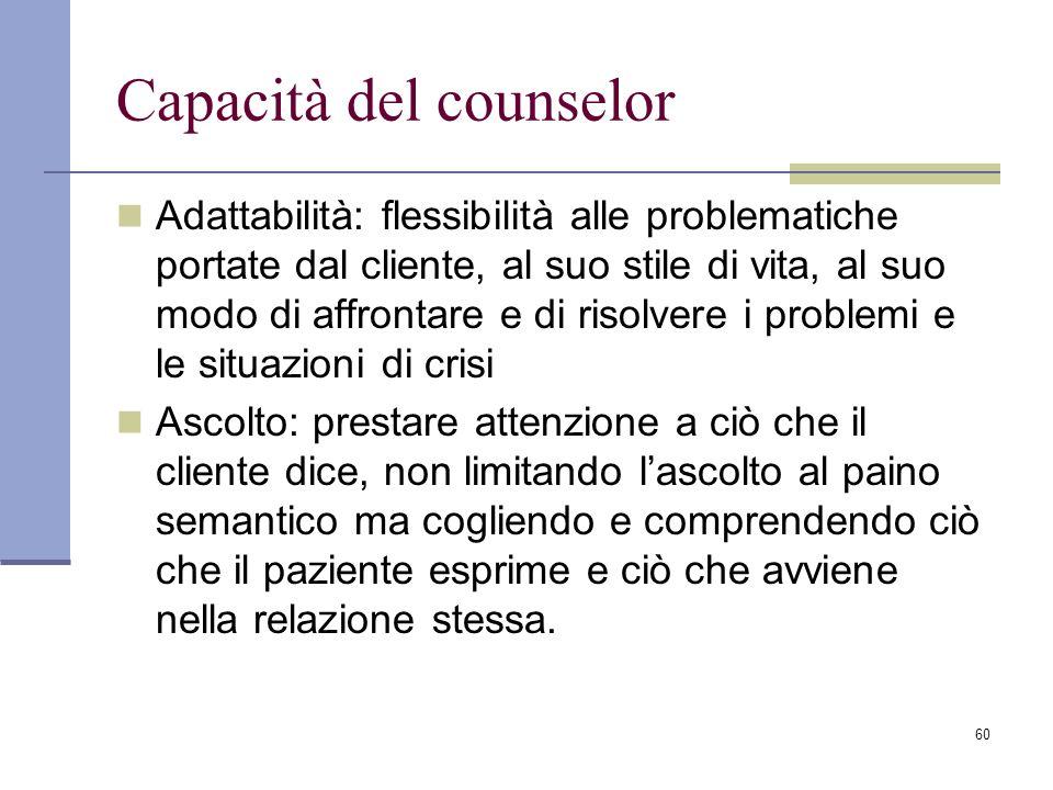 Capacità del counselor