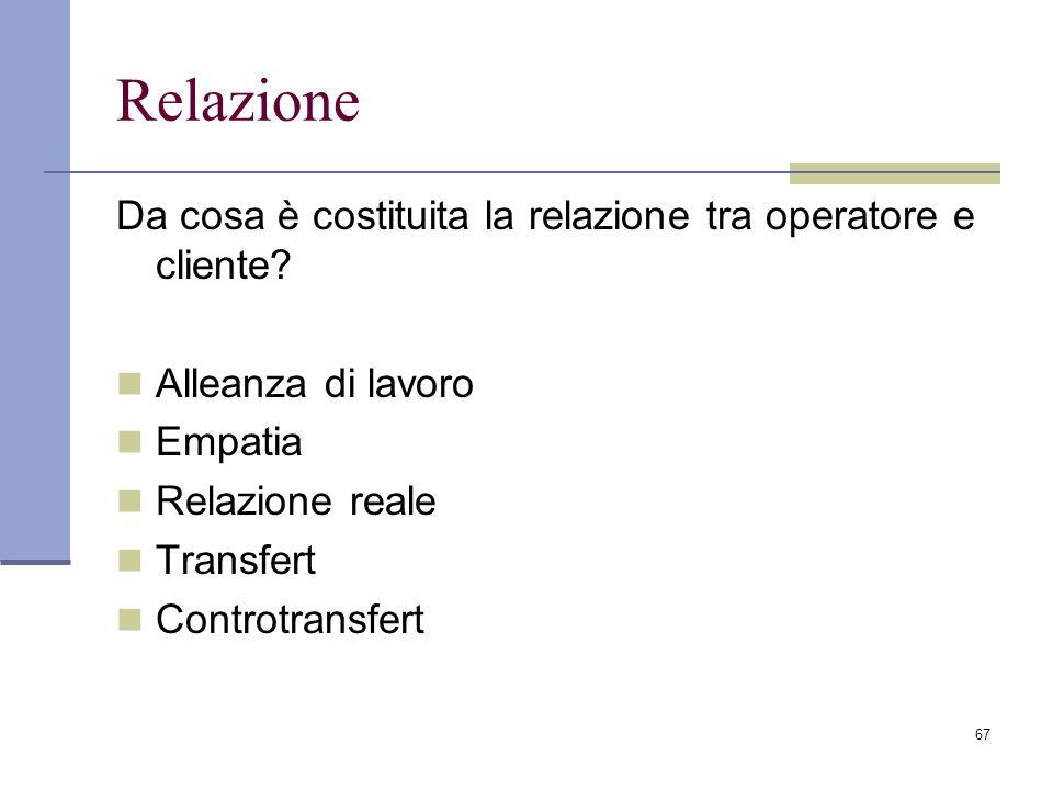 Relazione Da cosa è costituita la relazione tra operatore e cliente
