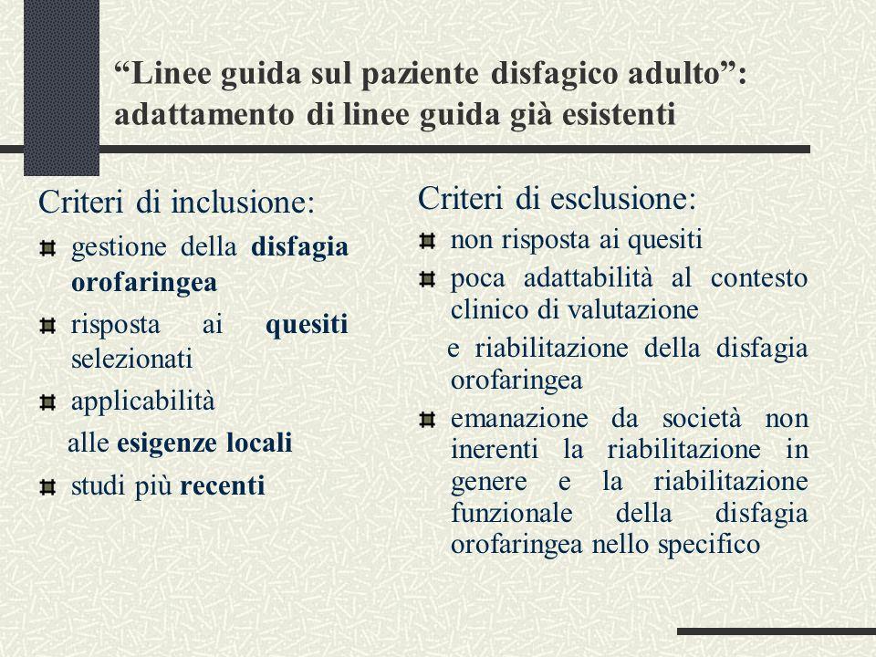 Criteri di inclusione: Criteri di esclusione: