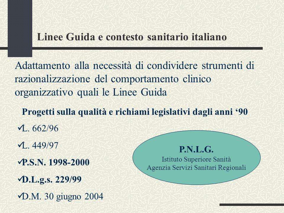Linee Guida e contesto sanitario italiano