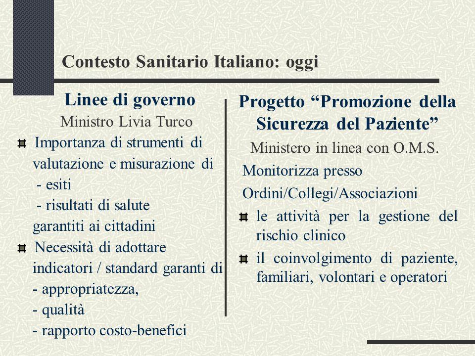 Contesto Sanitario Italiano: oggi
