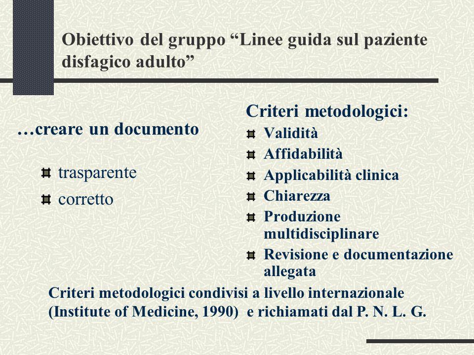 Obiettivo del gruppo Linee guida sul paziente disfagico adulto