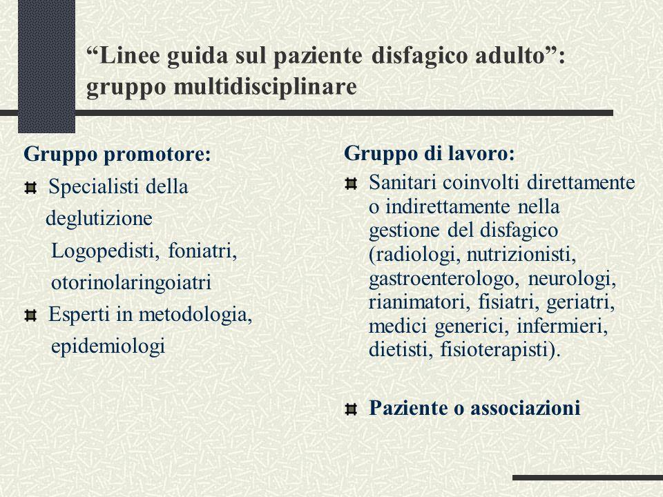 Linee guida sul paziente disfagico adulto : gruppo multidisciplinare