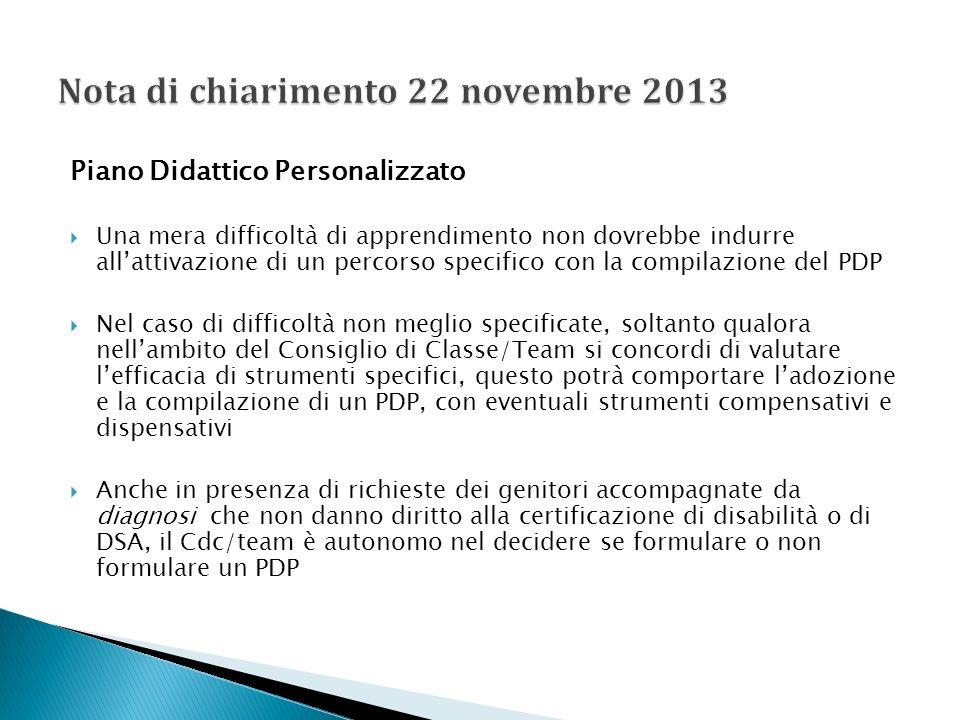 Nota di chiarimento 22 novembre 2013