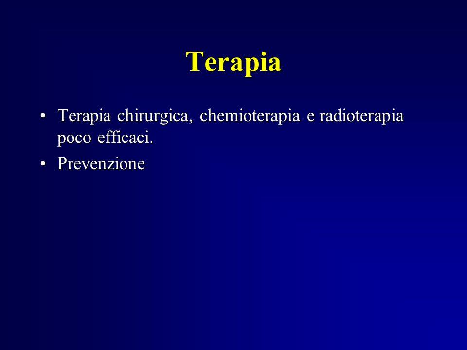 Terapia Terapia chirurgica, chemioterapia e radioterapia poco efficaci. Prevenzione