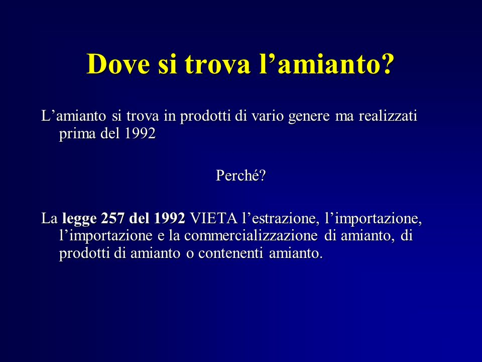 Amianto ppt scaricare for Arredo ingross 3 dove si trova