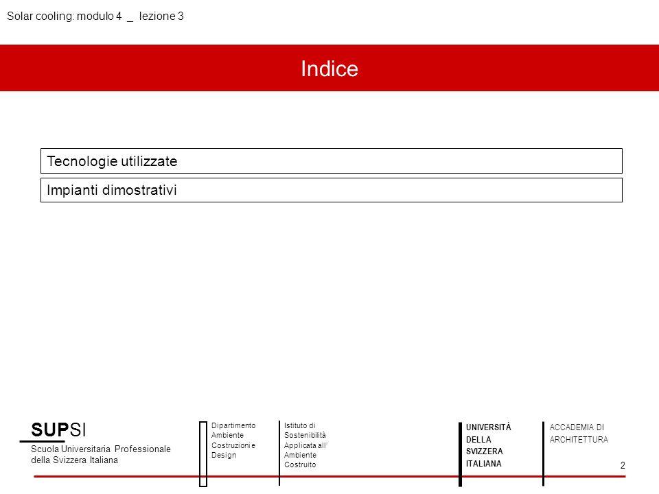 Indice SUPSI Tecnologie utilizzate Impianti dimostrativi