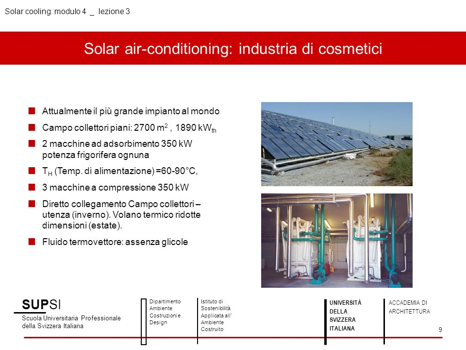 Solar air-conditioning: industria di cosmetici
