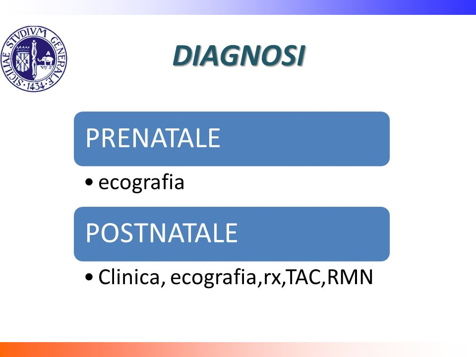 DIAGNOSI PRENATALE ecografia POSTNATALE Clinica, ecografia,rx,TAC,RMN