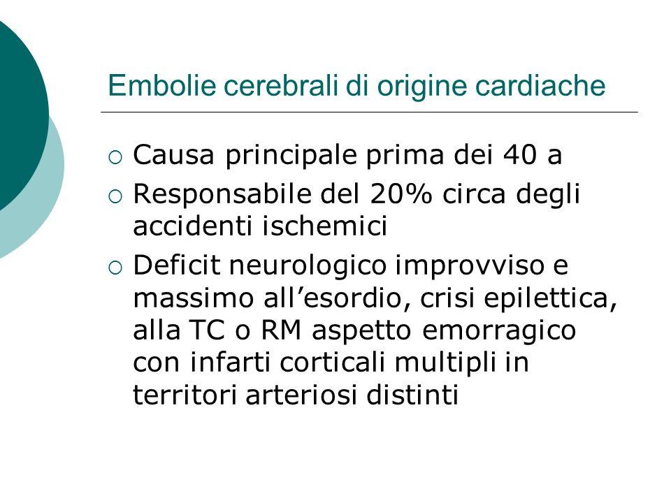 Embolie cerebrali di origine cardiache