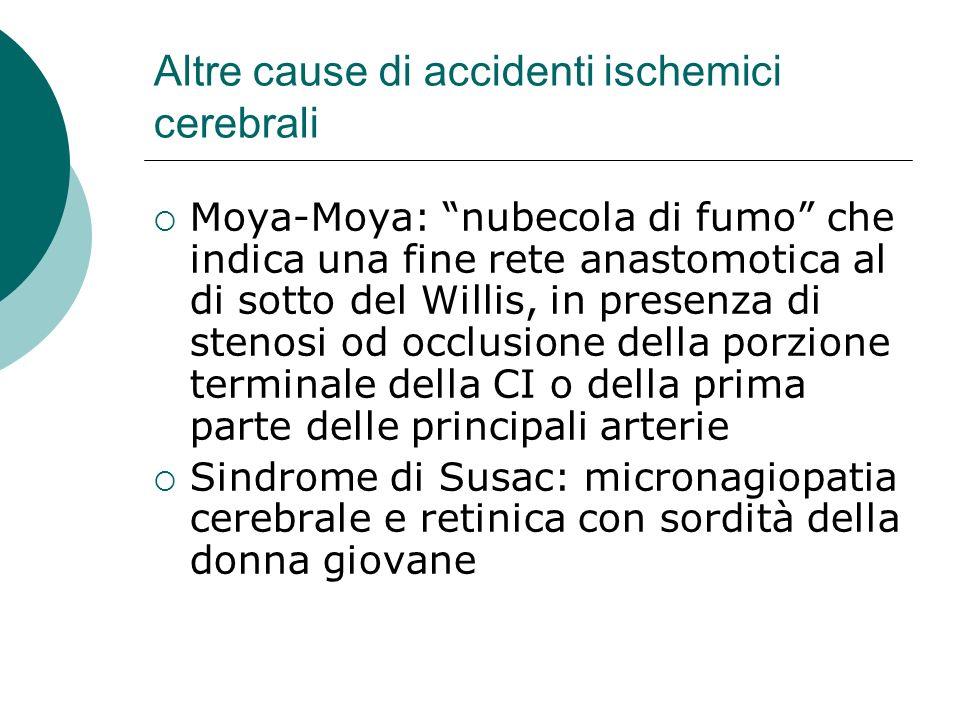 Altre cause di accidenti ischemici cerebrali