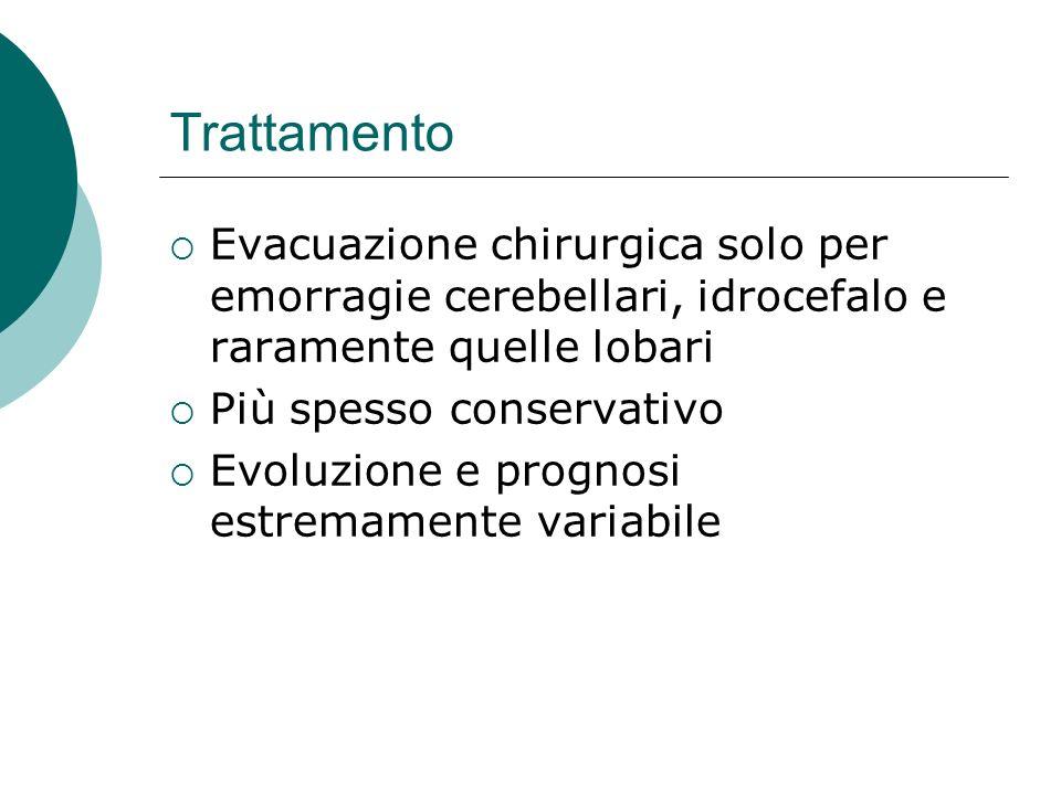 Trattamento Evacuazione chirurgica solo per emorragie cerebellari, idrocefalo e raramente quelle lobari.