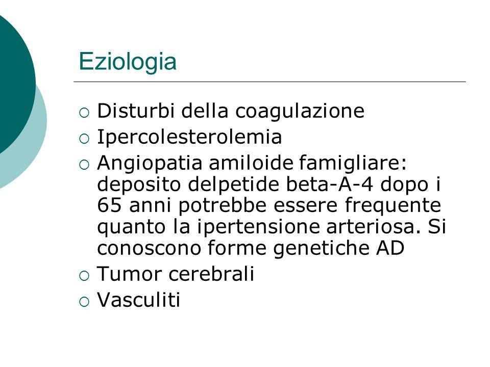 Eziologia Disturbi della coagulazione Ipercolesterolemia