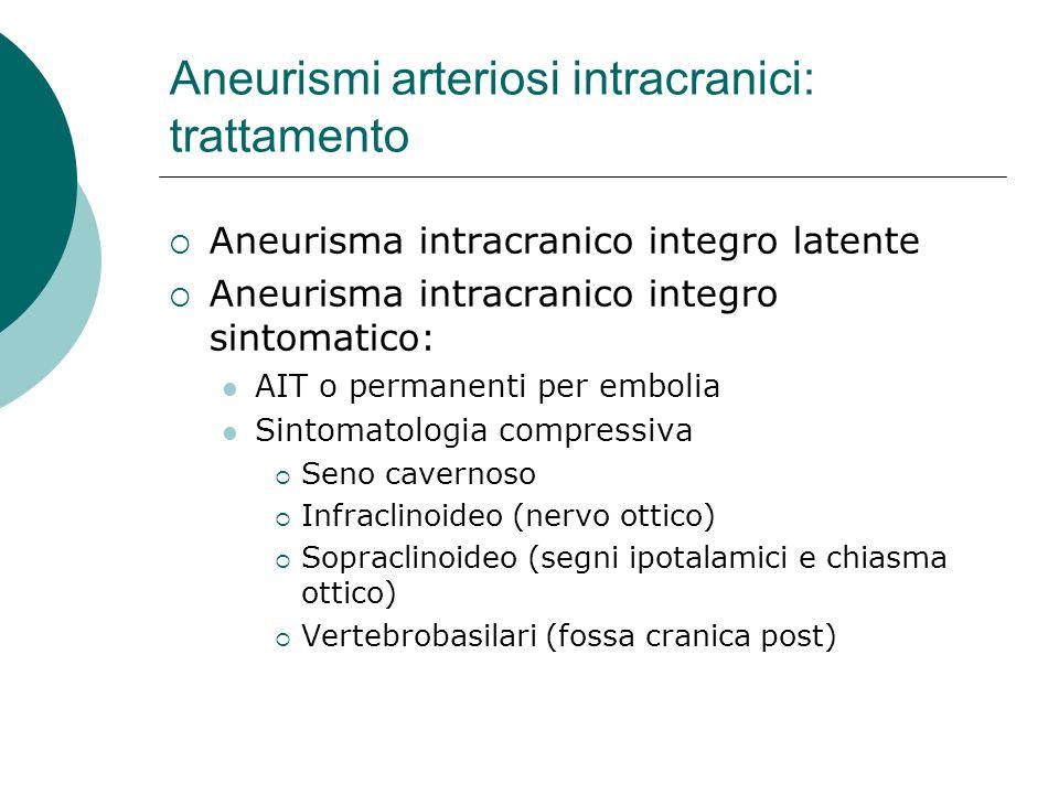 Aneurismi arteriosi intracranici: trattamento