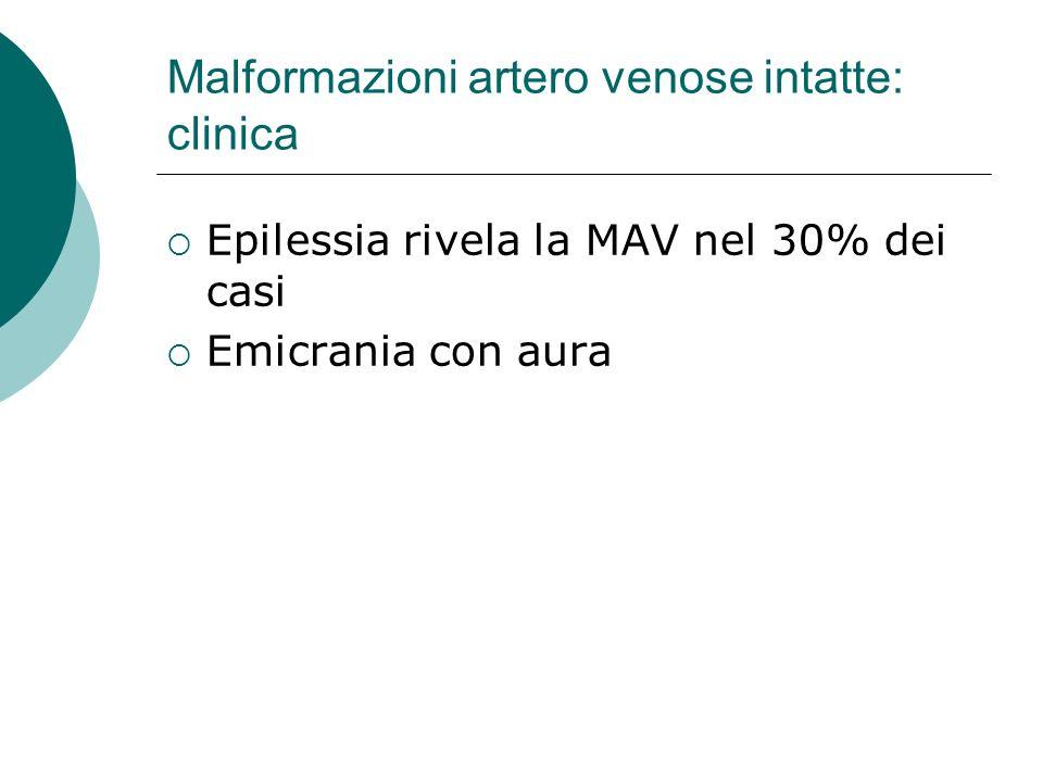 Malformazioni artero venose intatte: clinica