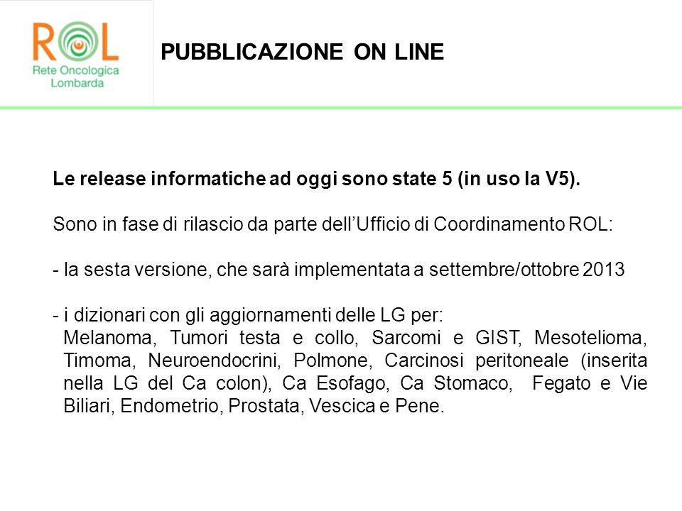 PUBBLICAZIONE ON LINE Le release informatiche ad oggi sono state 5 (in uso la V5).