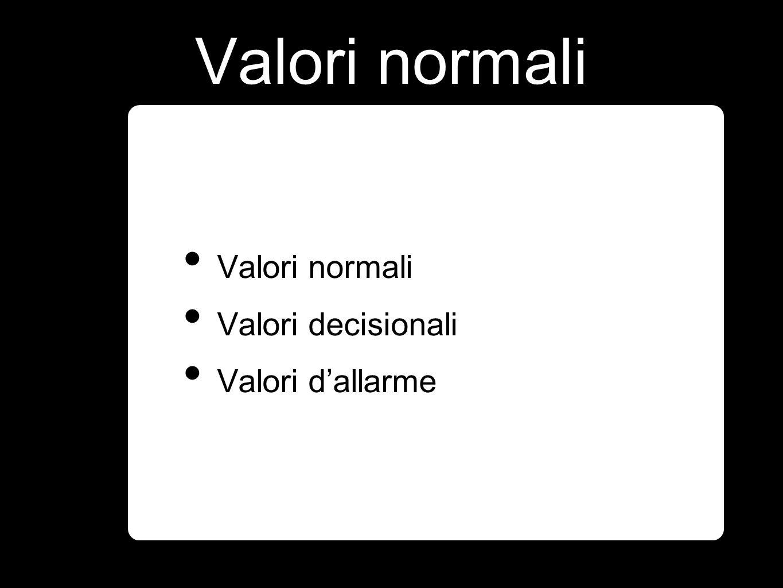 Valori normali Valori normali Valori decisionali Valori d'allarme