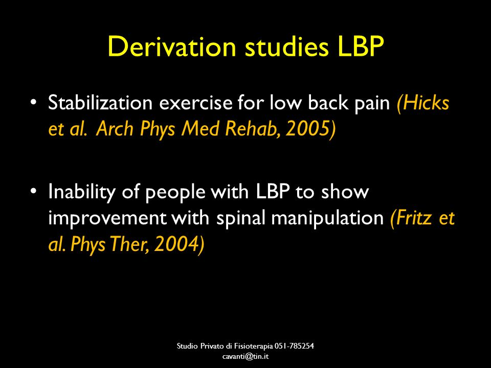 Derivation studies LBP