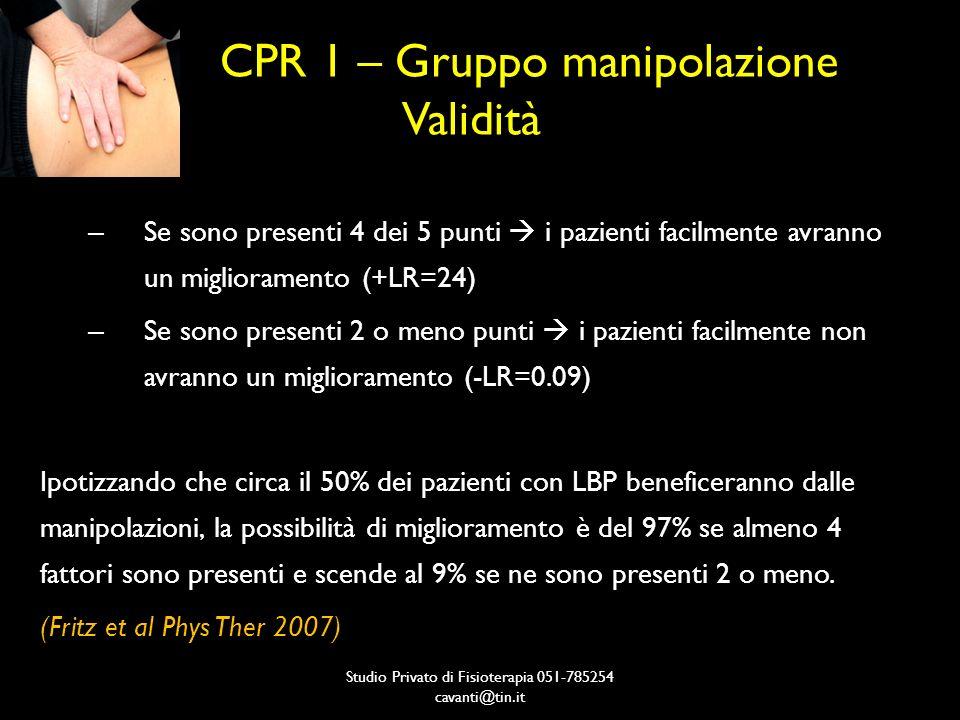 CPR 1 – Gruppo manipolazione Validità