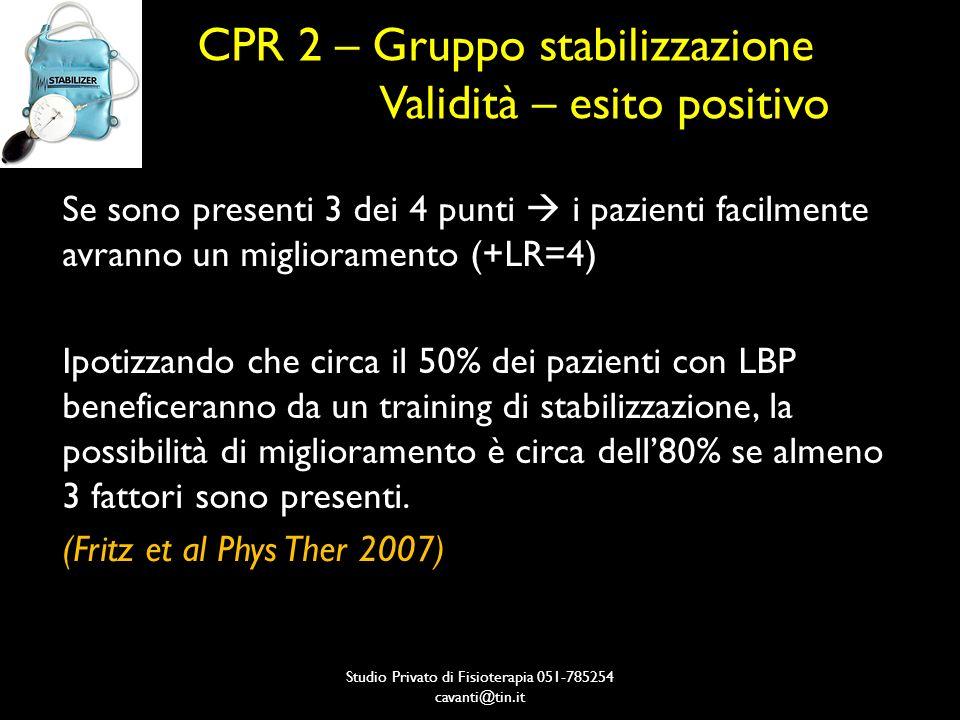 CPR 2 – Gruppo stabilizzazione Validità – esito positivo