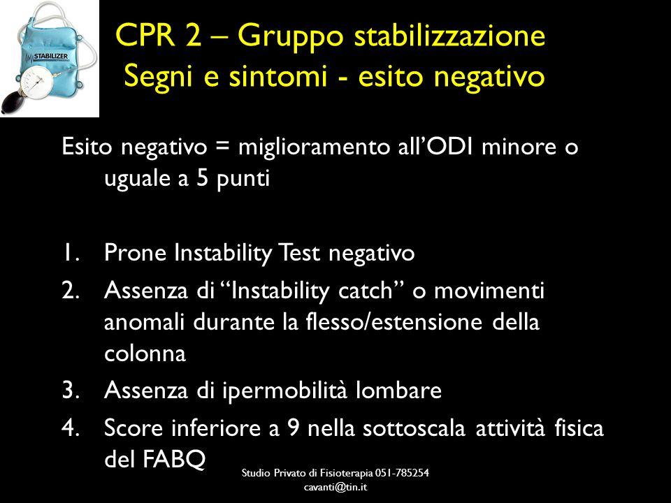 CPR 2 – Gruppo stabilizzazione Segni e sintomi - esito negativo