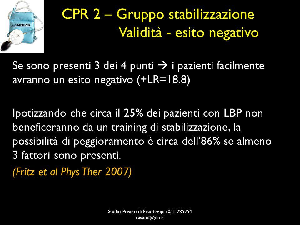 CPR 2 – Gruppo stabilizzazione Validità - esito negativo