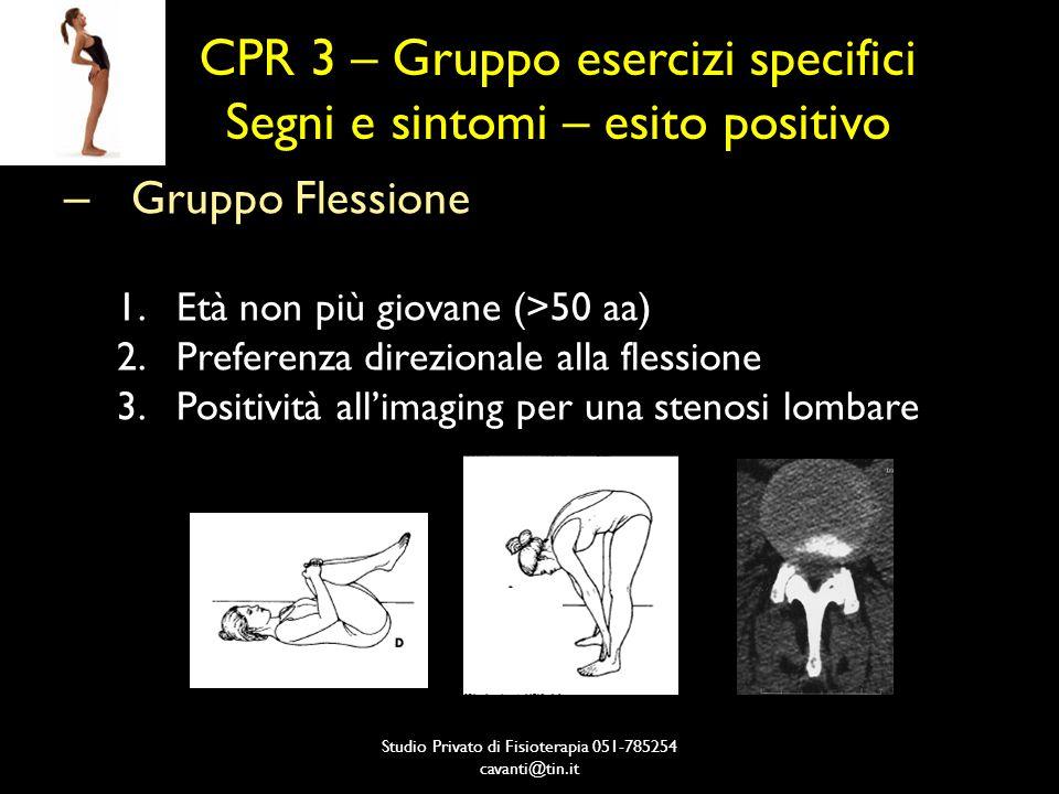 CPR 3 – Gruppo esercizi specifici Segni e sintomi – esito positivo