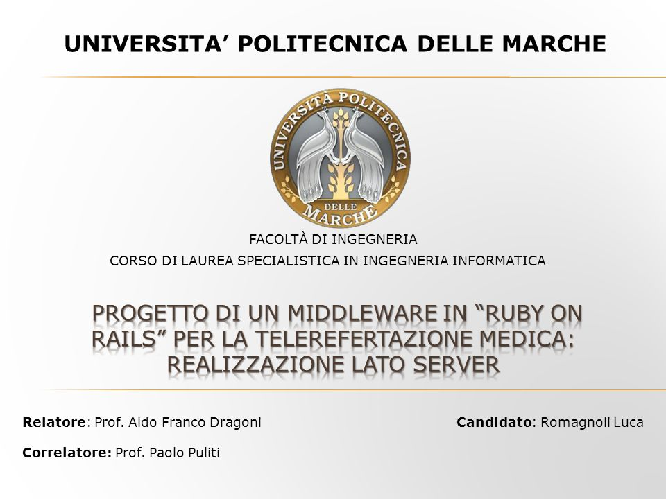 UNIVERSITA' POLITECNICA DELLE MARCHE