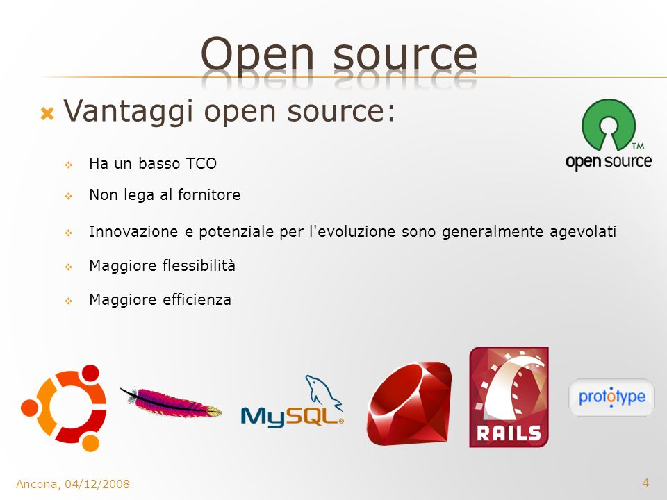 Open source Vantaggi open source: Ha un basso TCO