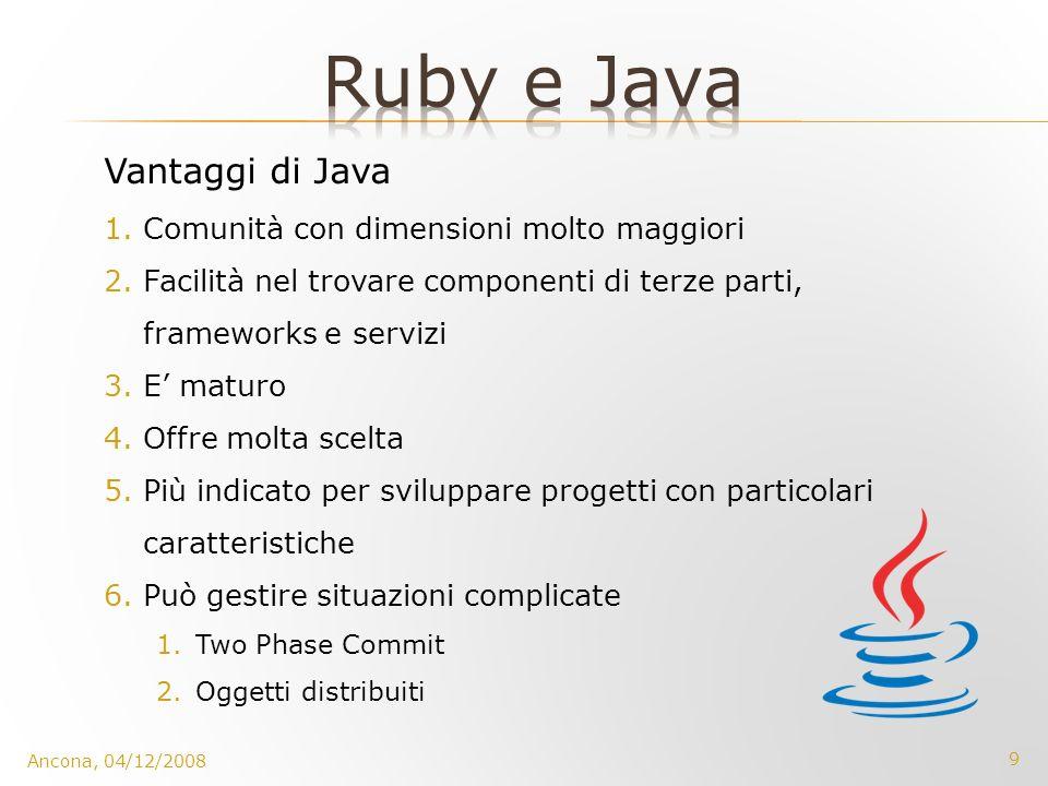 Ruby e Java Vantaggi di Java Comunità con dimensioni molto maggiori