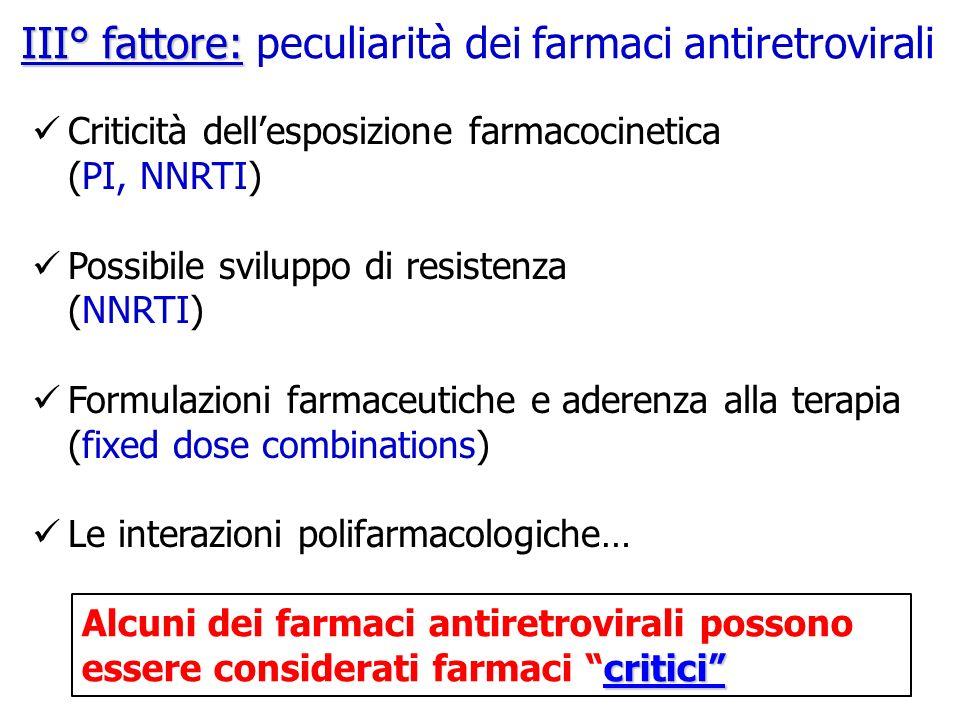 III° fattore: peculiarità dei farmaci antiretrovirali
