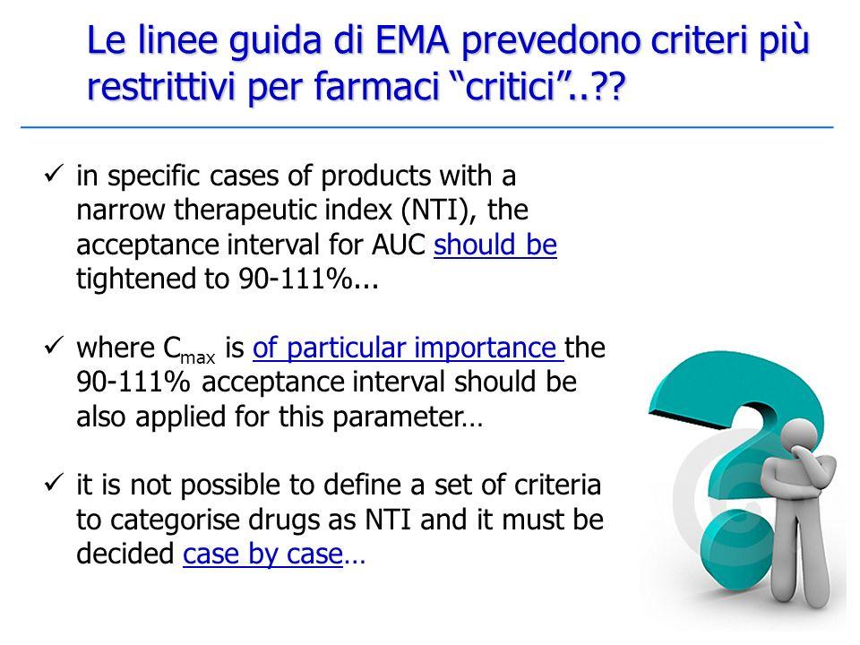 Le linee guida di EMA prevedono criteri più restrittivi per farmaci critici ..