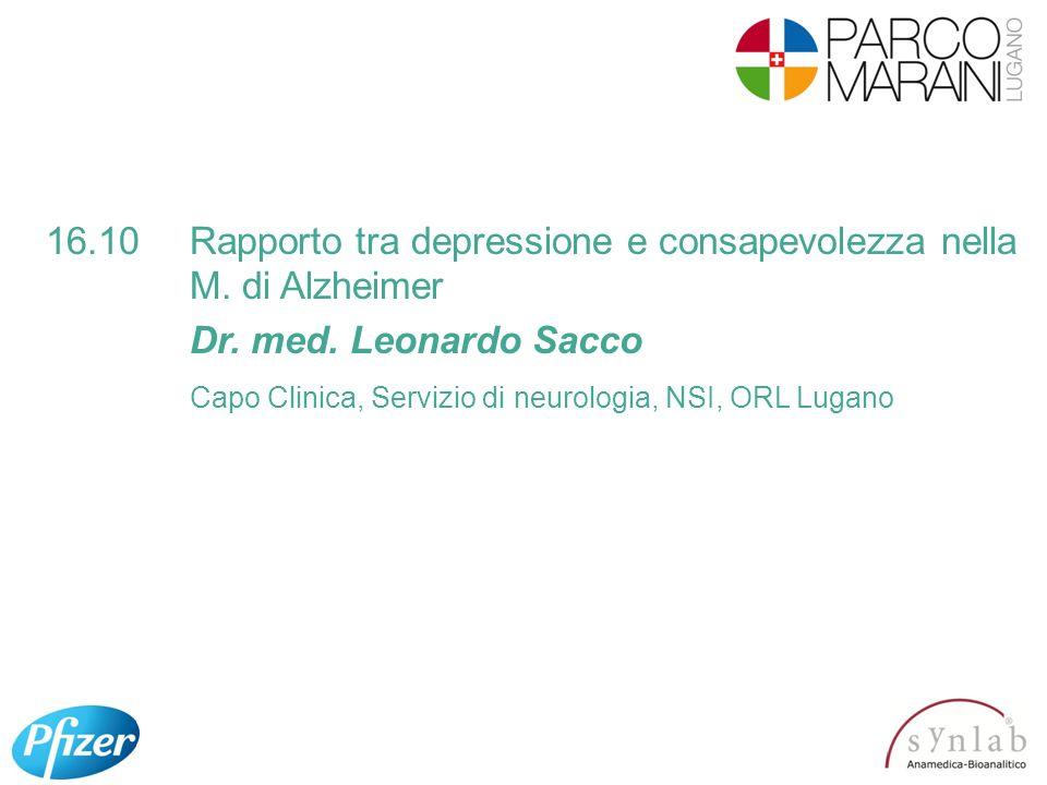 16.10 Rapporto tra depressione e consapevolezza nella M. di Alzheimer
